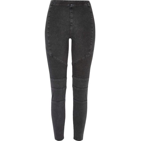 River Island Black denim biker legging (£28) ❤ liked on Polyvore featuring pants, leggings, black, trousers, denim leggings, elastic waist denim pants, denim trousers, skinny denim pants and skinny pants