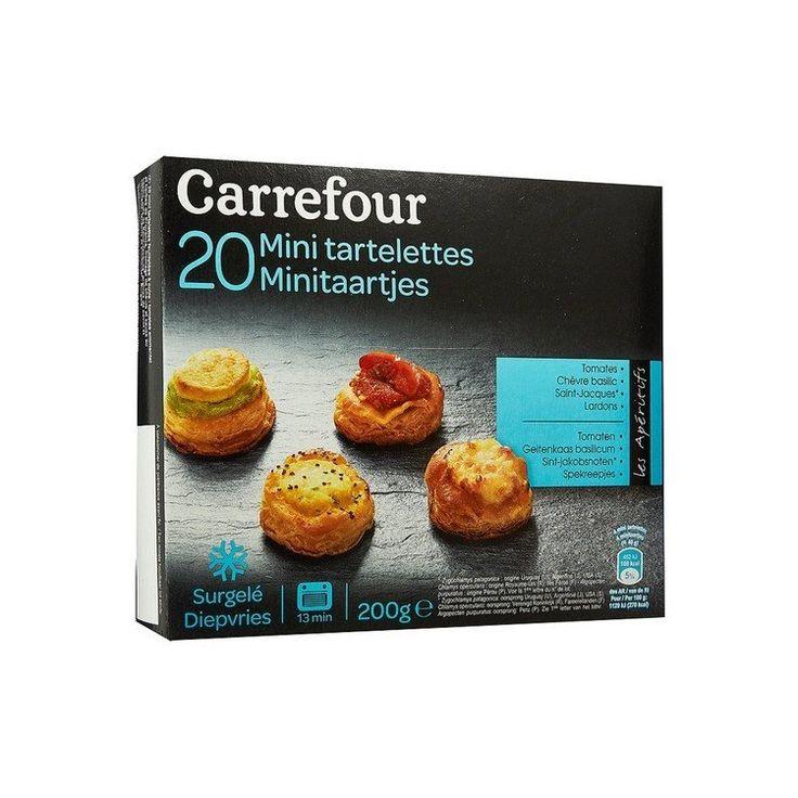 Carrefour 20 Mini Tartelettes salées 200 gr, €7.35 Carrefour 20 Mini Tartelettes salées. 5 au fromage de chèvre et sauce au basilic. 5 Mini aux noix de Saint-Jacques, aux graines de pavot et à la ciboulette. 5 aux tomates, à l'emmental et aux herbes de Provence. et 5 aux lardons et à l'emmental. 20pcs,