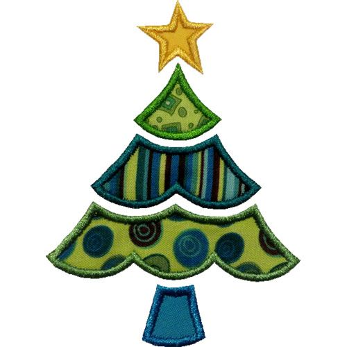 scalloped christmas tree applique by happyappliquecom - Christmas Tree Applique