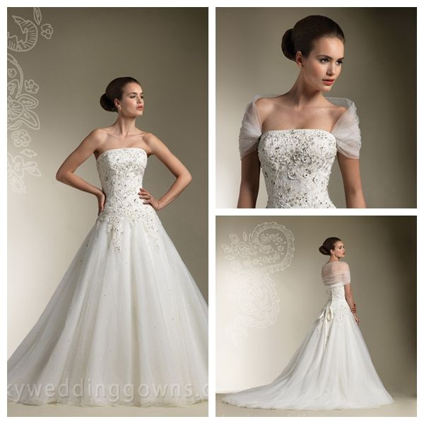 Beaded Lace Strapless Classic Spring Wedding Dress with Full Tulle Skirt