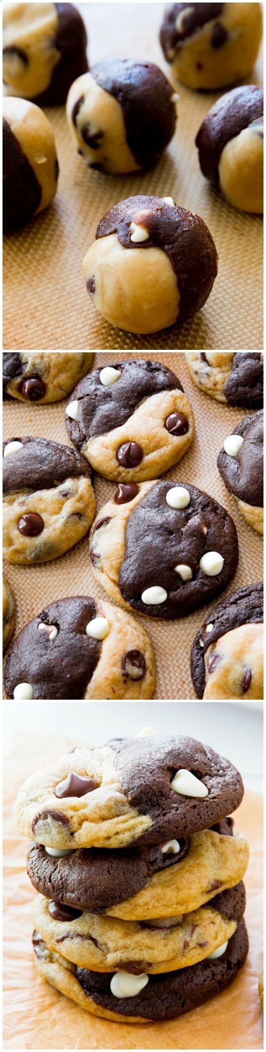 Soft-baked and completely irresistible chocolate chip cookies swirled with chocolate white chocolate cookies!