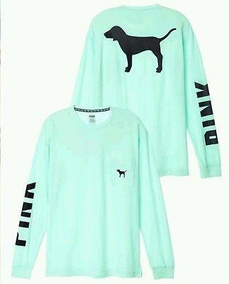 Victorias Secret PINK Campus Crew Dog Logo Long Sleeve Tee Shirt XS Victoria's