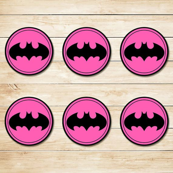 Pink Batman Sticker // Pink Batman Cupcake Topper // Batman