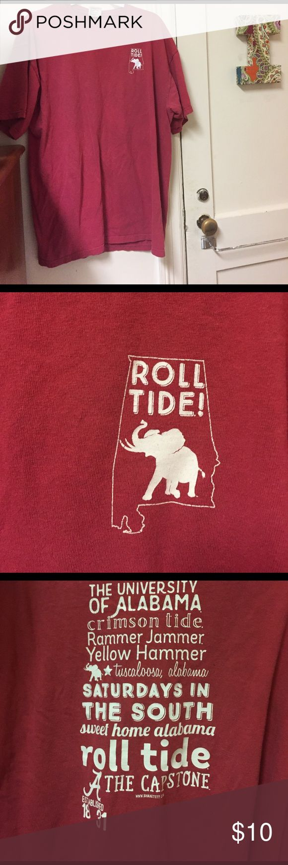 University of Alabama shirt University of Alabama crimson comfort colors shirt. The front has an outline of the state with an elephant and roll tide inside. On the back it has the outline of the state and a cute little phrase. Tops Tees - Short Sleeve