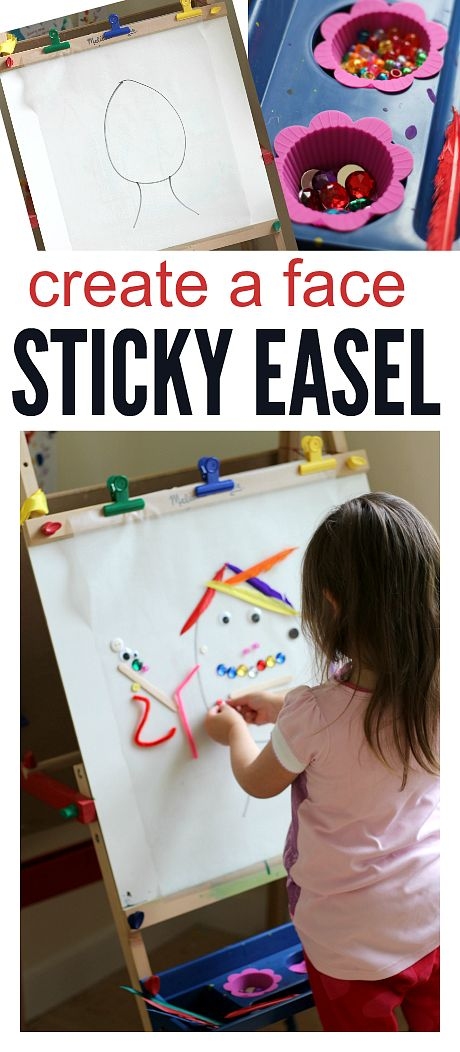 Easel activity for preschool. Storytelling, empathy, and fine motor skills all wrapped into one fun idea.