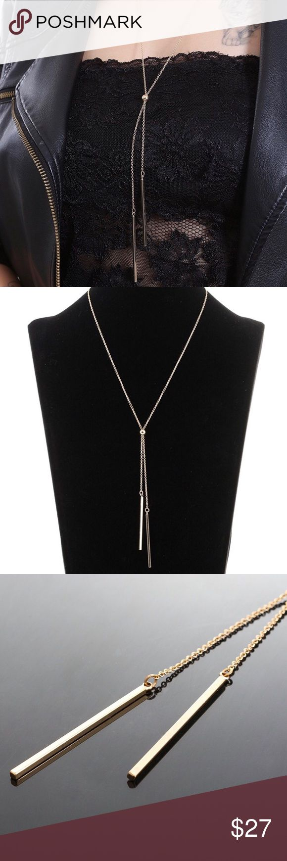 Gold Vertical Bars Necklace NWT Gold Vertical Bars Necklace  We're starting to add jewelry and this bar necklace is the perfect first piece  Features: gold color **not real gold**, long chain, chain comes together with a bead and two vertical bars hanging from the bead, one bar is lower than the other  BAR NECKLACE  Size: One Size Fits All  Stile Loft Boutique @stileloft  SL0220 Stile Loft Jewelry Necklaces