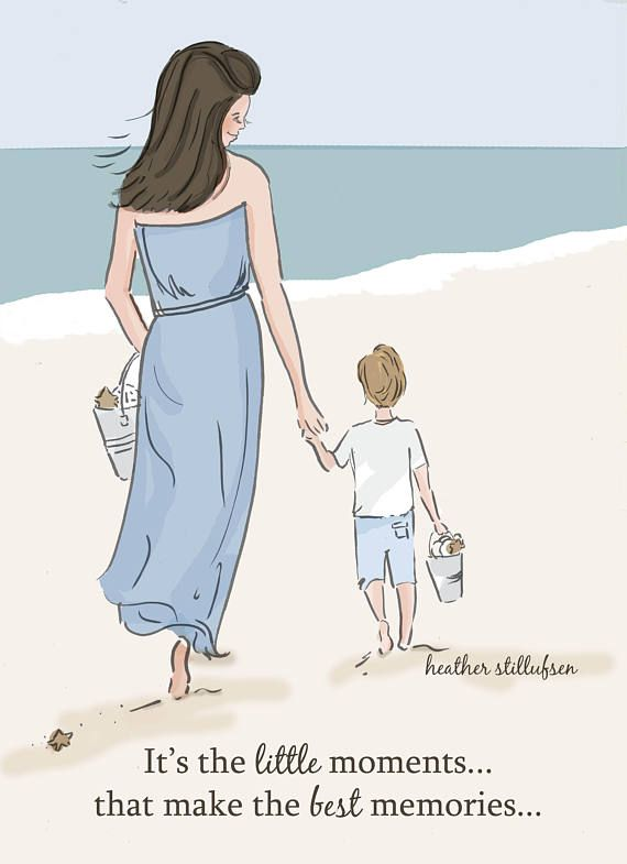 Mom and Son Art Little Moments Make the Best Memories Art. Rose Hill Designs by Heather Stillufsen. All illustrations and quotes copyright protected.
