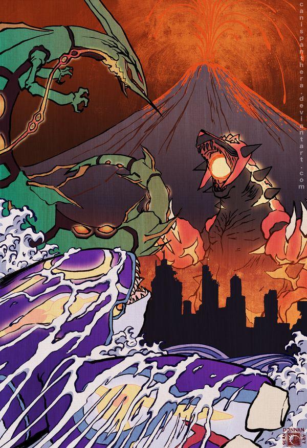 Clash of the Kaiju by CanisPanthera.deviantart.com on @deviantART (Primal Kyogre vs. Primal Groudon vs. Mega Rayquaza)