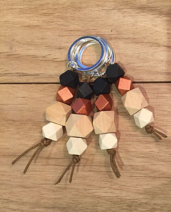 Wooden Geometric 12mm Bead Keyring Copper/Black by knotandcharm
