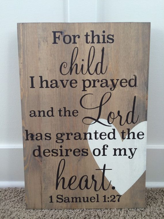 12 x 18 Wood Sign For this Child I Prayed by JamesandAlice on Etsy