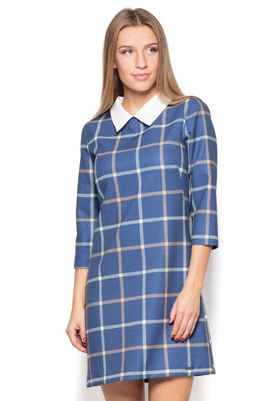 Katrus K424 sukienka kratka 42 Elegancka sukienka, wykonana z delikatnej dzianiny w modną kratkę, rękaw za łokieć, prosty fason