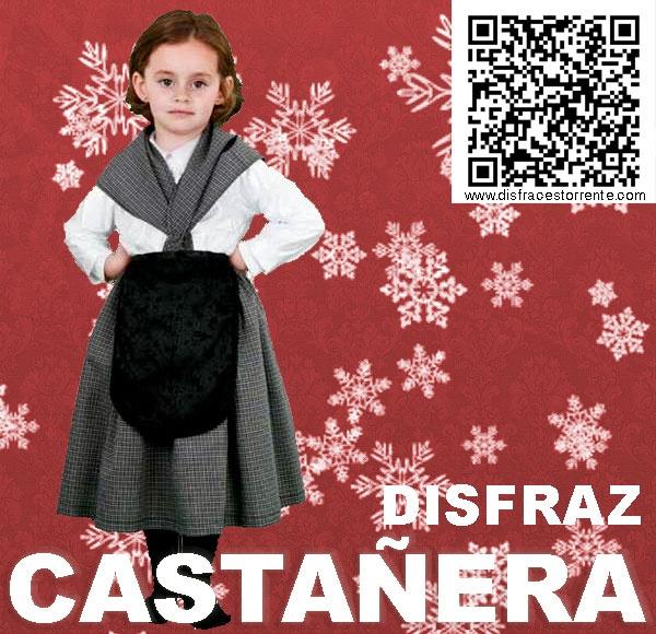 Disfraz de  Castañera.  Ideal para representaciones de colegio, festivales navideños.
