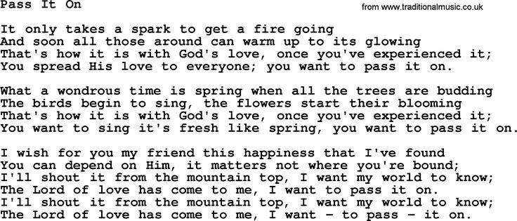 Catholic Hymns, Song: Pass It On - lyrics and PDF