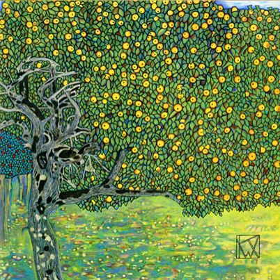 Goldener Apfelbau (Golden Apple Tree) by Gustav Klimt, 1903. Oil on canvas, 100 x 100 cm | Destroyed by a fire set by retreating German forces in 1945 at Schloss Immendorf, Austria