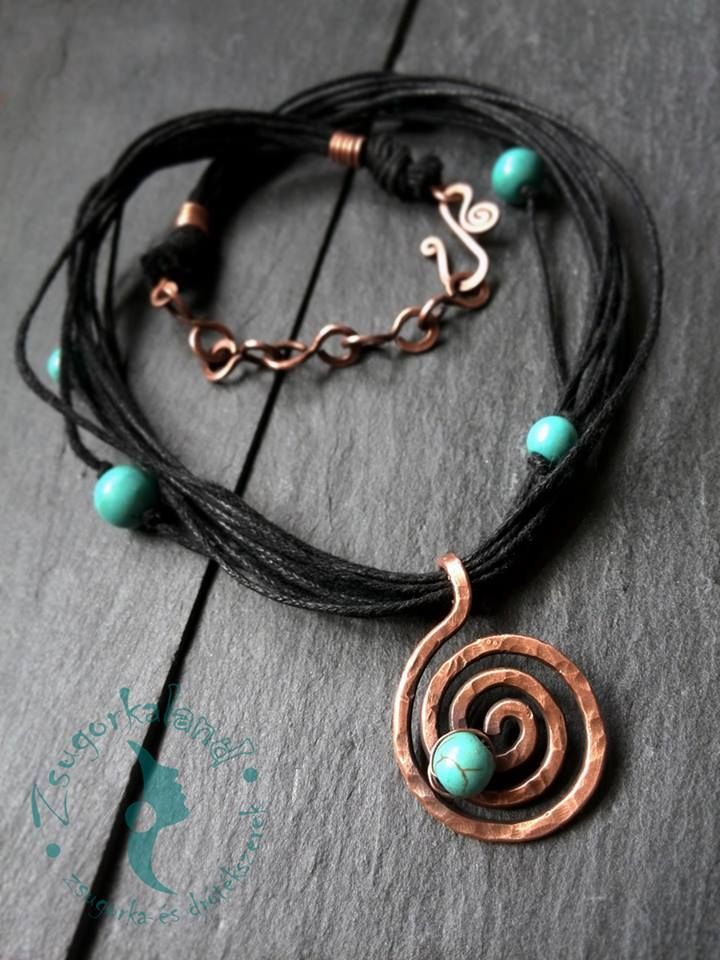 Handmade necklace made of copper wire, mineral pearl and waxed thread. www.facebook.com/Zsugorkaland