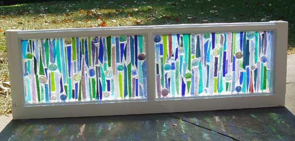This Garden Glass Window is called 'Sticks-n-Stones Blue'.