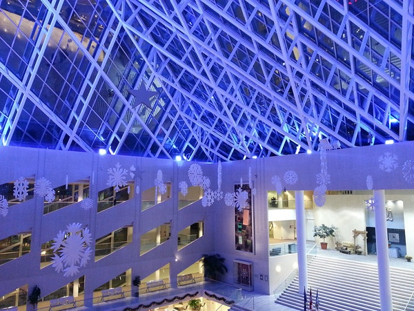 Edmonton City Hall Snowflakes Evening November 2012