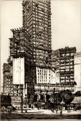 Terminal Tower from Public Square, May 1927 by Louis Conrad Rosenberg :: Greater Cleveland Print Collection