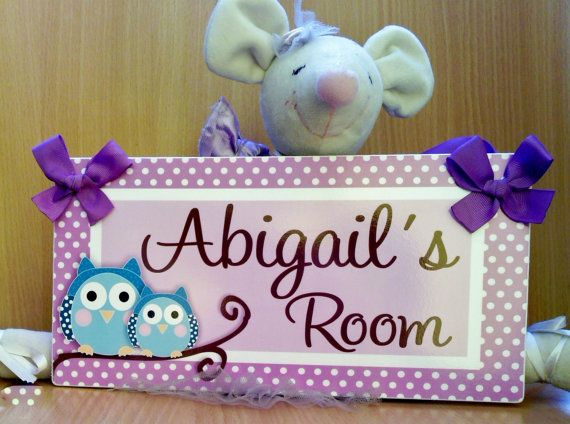Personalized Owls Bedroom Decor Kids Door Signs Girls Nursery Purple And Teal Decor P437