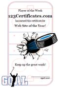 Free Printable Ice Hockey Certificates, Hockey Awards, hockey certificate templates, hockey printables, certificate templates for children, and more