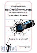 Free Printable Ice Hockey Certificates, Hockey Awards, hockey certificate templates, hockey printables, certificate templates for children, and more