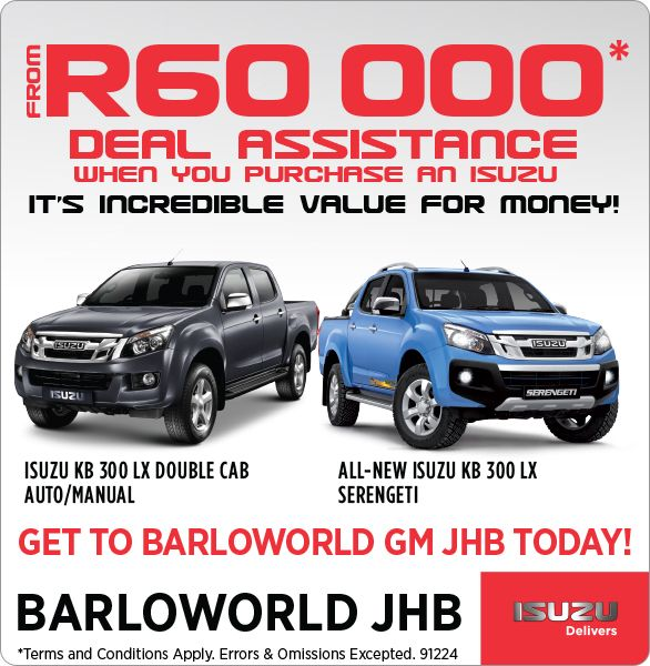 From R60 000 deal assistance when you buy an Isuzu.