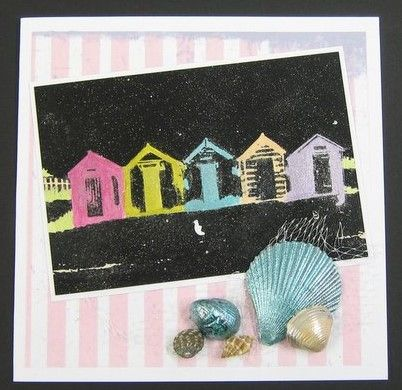 Handmade card. Beach Huts Art Stamp, Starlights, rice papers - available at imaginationcrafts.co.uk