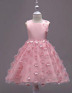 Robe Fille de Anniversaire Sortie Couleur Pleine Fleur Coton Polyester Eté Sans Manches Mignon Princesse Bleu Rouge Rose Claire Beige