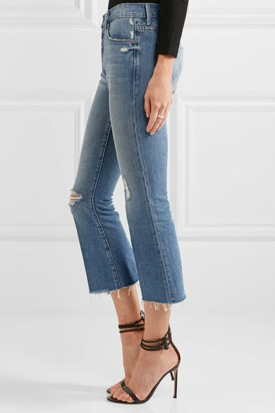 Mother - The Nomad Cropped Distressed Mid-rise Flared Jeans - Mid denim - 24