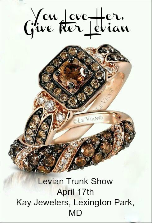 Come see our First Levian Trunk Show on April 17th at the Kay Jewelers in Lexington Park, MD