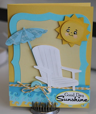 Chair and umbrella from Life's a Beach and the sun from create a critterCricut Cards, Cards Ideas, Cricut Life, Paper Creations, Life A Beach Cricut, Cards Cricut, Cricut Chairs, Beach Chairs Crafts, Beach Cards