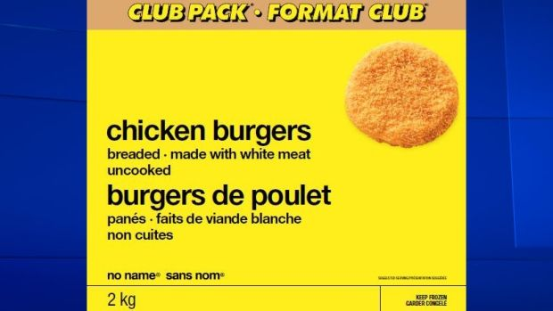 Loblaw Companies Ltd. is recalling chicken burgers sold in Atlantic Canada, Ontario and Quebec under its No Name brand because of possible salmonella contamination.