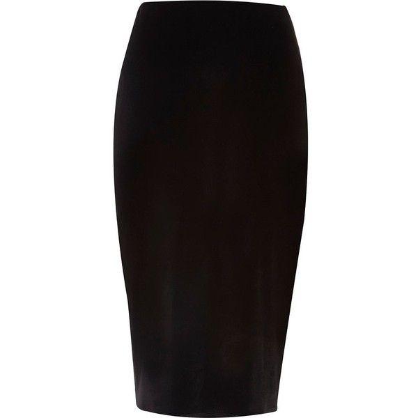 River Island Black velvet pencil skirt ($23) ❤ liked on Polyvore featuring skirts, bottoms, velvet pencil skirt, river island, knee length pencil skirt, tall skirts and velvet skirt
