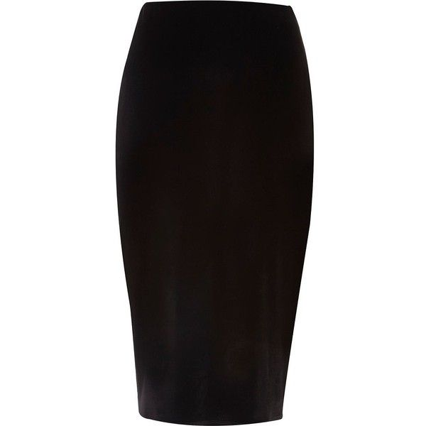 River Island Black velvet pencil skirt ($23) ❤ liked on Polyvore featuring skirts, bottoms, velvet pencil skirt, river island, knee length pencil skirt, tall skirts and velvet skirt