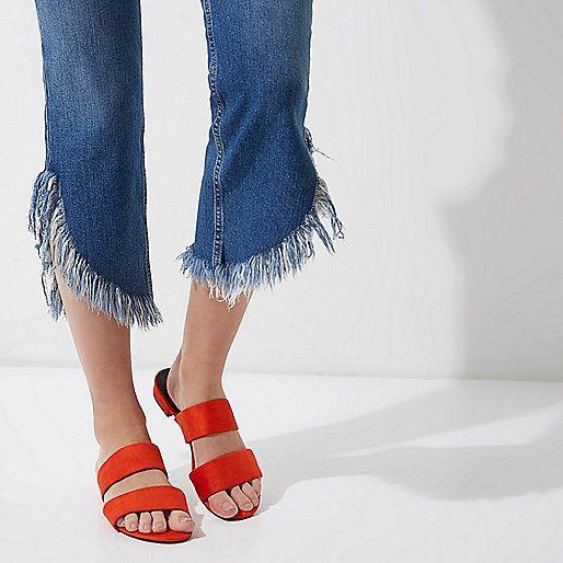 Rode muiltjes met twee banden - sandalen - schoenen / laarzen - dames