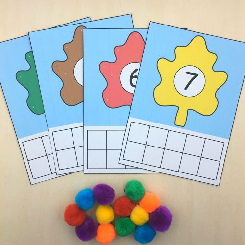 fall leaf ten frame for preschool and kindergarten math