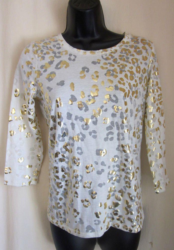 948a3945 CALVIN KLEIN Women's White Metallic Gold Animal Print Top XS $54 NWT # CalvinKlein #Blouse | Women's Clothes | Women, Calvin klein women, Clothes  for women