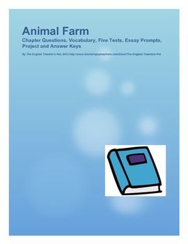 best animal farm images farm unit george orwell animal farm questions vocab tests essays and project answer keys