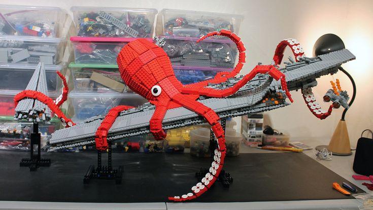 Lego Giant Kraken Destroys Darth Vader's Super Star Destroyer