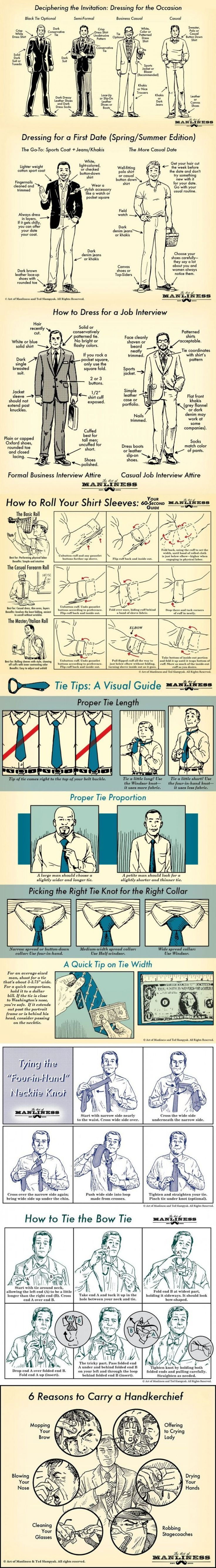 Cool infographic show how a man should dress which give tips and tricks on getting the perfect look.
