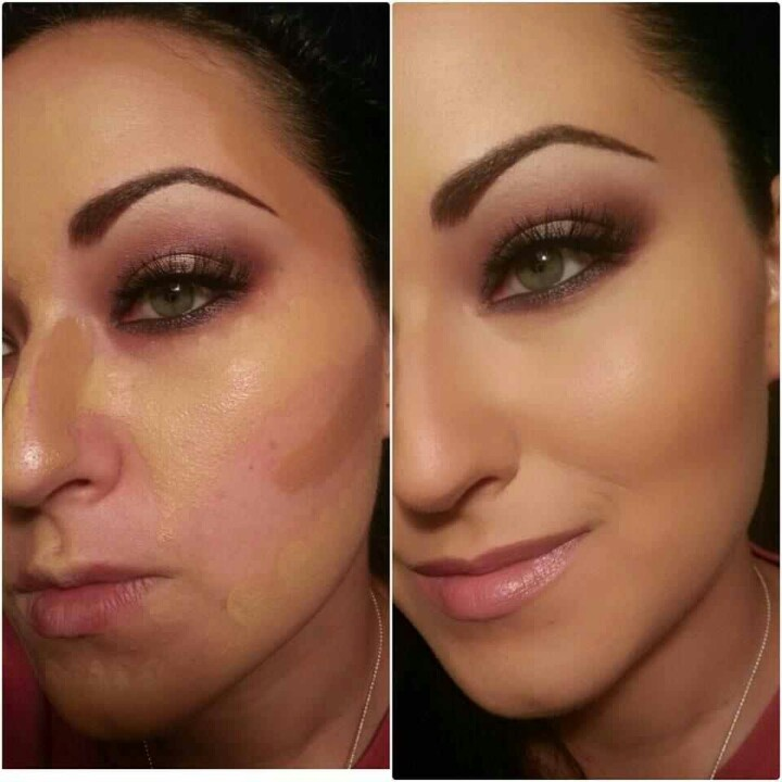 Contour and highlight with foundation