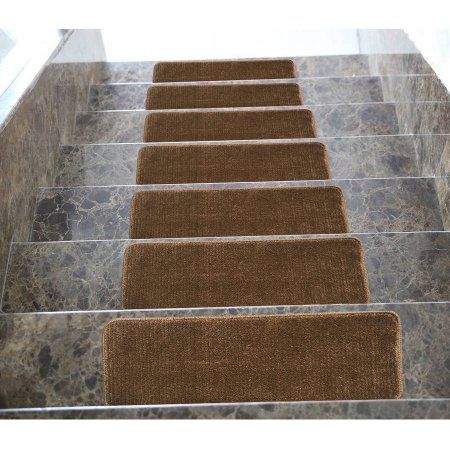 Ottomanson Ottomanson Softy Collection Contemporary Solid Design Stair Tread Rug, '9 x 2'2, Set of 7, Brown