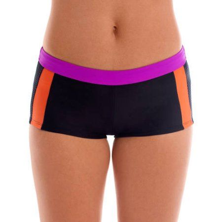 Women's Sporty Colorblock Boy Shorts Bikini Bottom, Size: Large, Purple