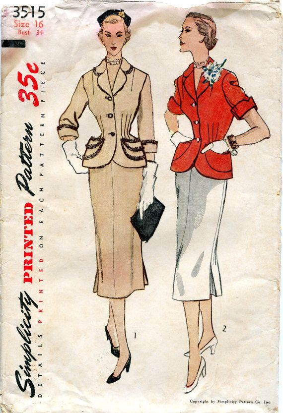 Vintage 1950s Two Piece Suit Dress Pattern by downthestreet, $15.00