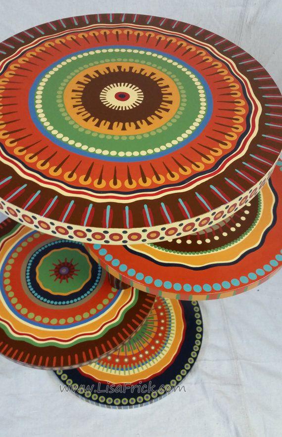 Mandala lado tabla tierra tonos cuatro estantes por LisaFrick