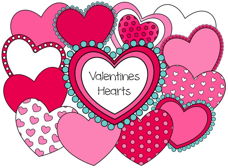 Valentine Hearts –  12 hearts you can resize and layer in many different ways to create your own heart designs. Free valentine clipart.