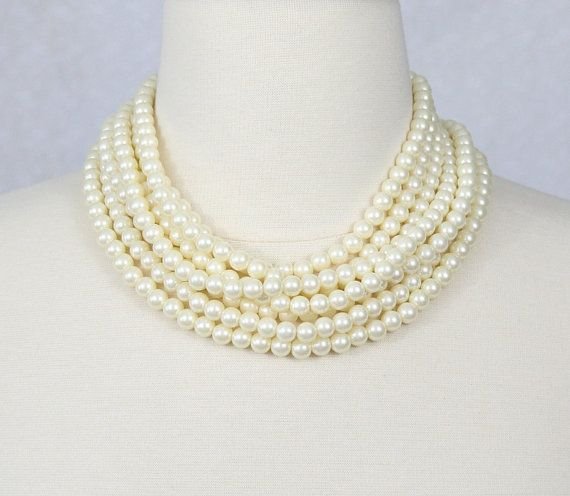 chunky pearl bridal statement necklace - bridal accessories