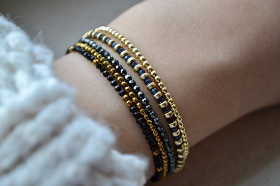 meilleur site web b6985 32776 Natural star Sapphire beaded bracelet femme with 24k gold ...