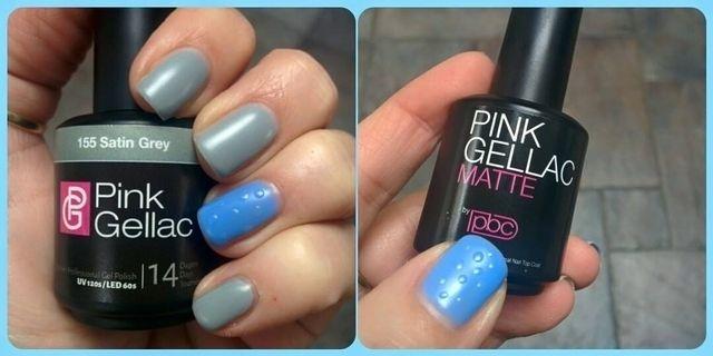 Pink Beauty Club shared Bianca Van Dijk-van Parijs's photo. 155 satin grey met 157 sky blue en matte topcoat en sh...
