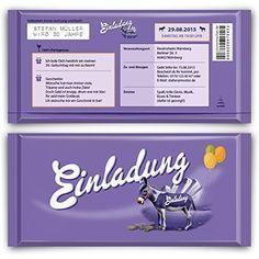 Einladungen zum Geburtstag (10 Stück) lila Schokolade Schoko Esel Einladungskarten kartenmachen.de http://www.amazon.de/dp/B00ZPN1XUS/ref=cm_sw_r_pi_dp_vZRKwb08XM6YY